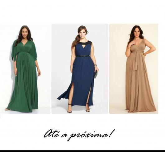 3 modelos vestem looks com vestidos nas cores bege, azul marinho e verde.