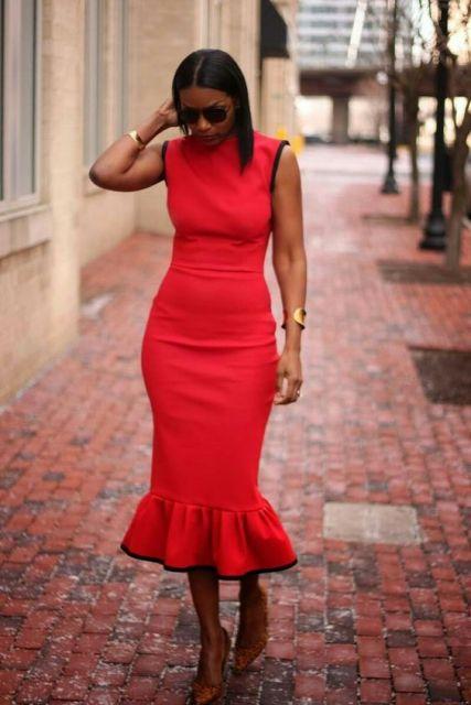 vestido vermelho pele negra