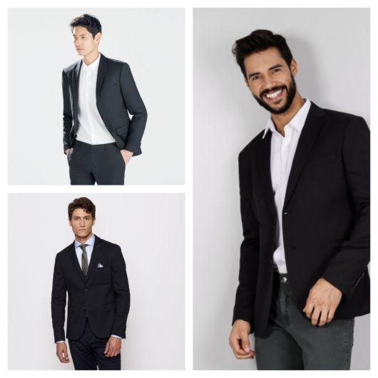 O blazer preto combina muito bem com o preto e com a camisa branca