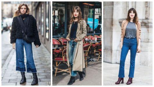 Três exemplos de como usar calça flare com bota.