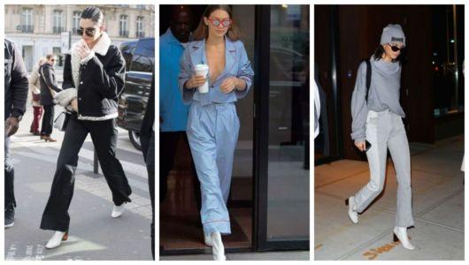 Montagem com fotos de Kendall Jenner e Gigi Hadid usando calça flare com bota.