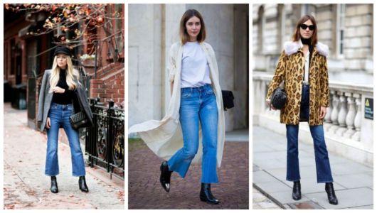 Exemplos de combinações com calça flare jeans com bota.