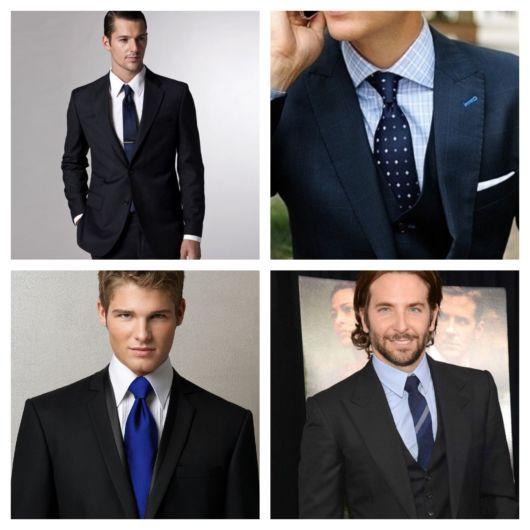 A gravata azul combina perfeitamente com terno preto e outras cores sóbrias