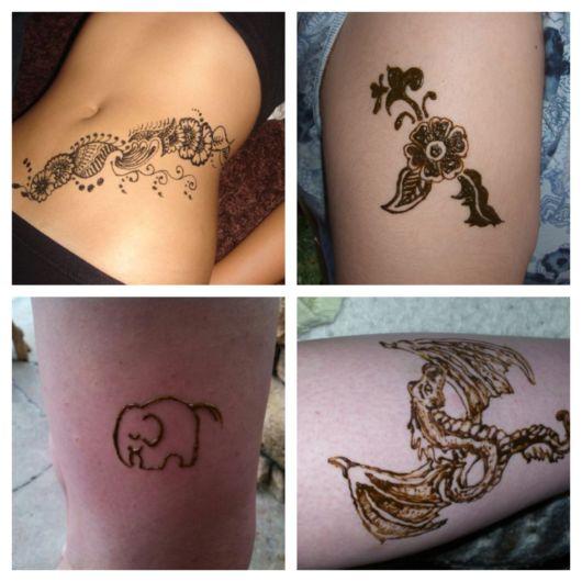 Dos desenhos pequenos aos enormes, a tattoo de henna pode seguir os mais diversos padrões