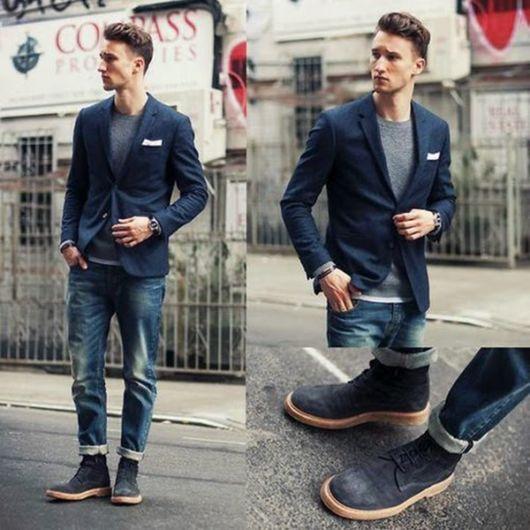 Blazer preto masculino + jeans e bota