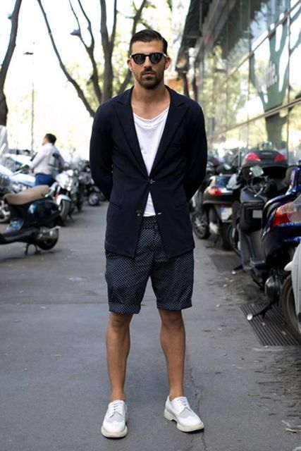 Look com blazer abotoado e bermuda: o que acha?