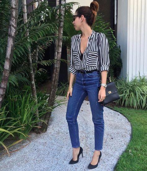 look calça jeans com scarpin