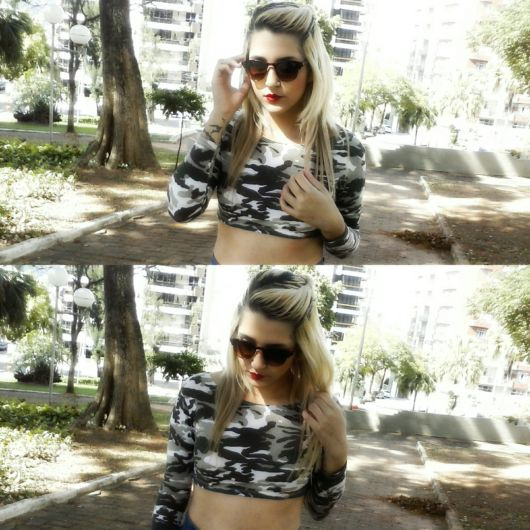 cropped camuflado com shortinho