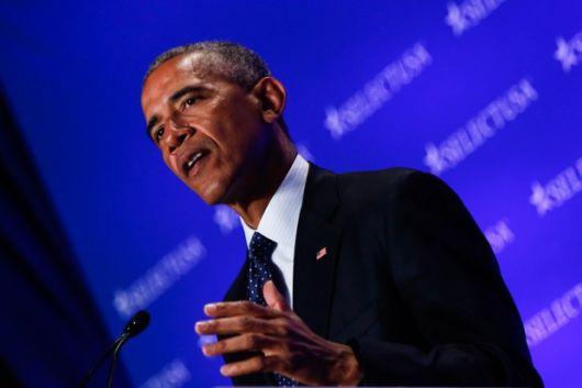Barack Obama apostou em uma gravata azul estampada