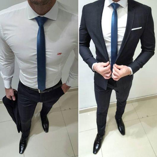 Gravata fininha azul combinando com o terno preto clássico