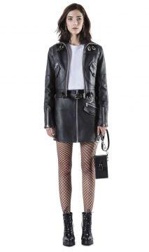 jaqueta aviador com saia preta