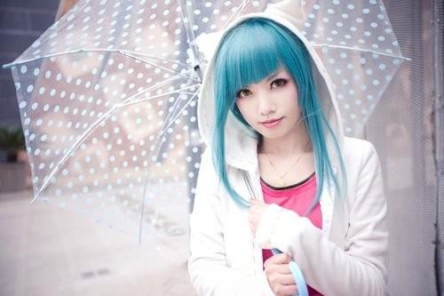 penteados kawaii cabelo azul