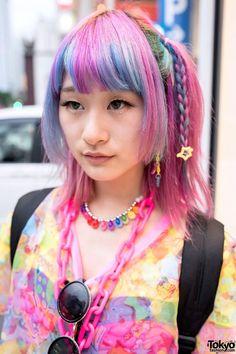 penteados kawaii colorido com franja