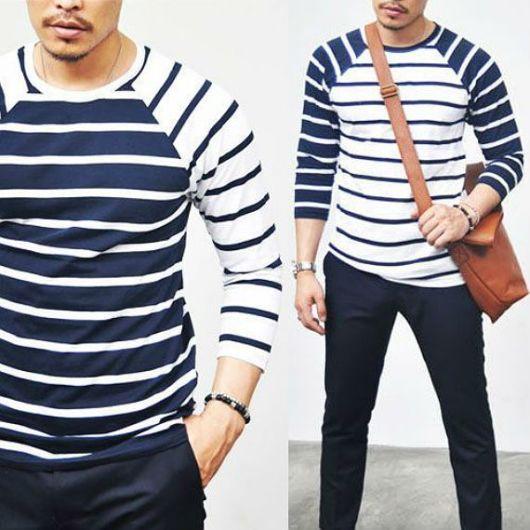 Que tal essa camiseta listrada, em um padrão super descolado e inusitado?