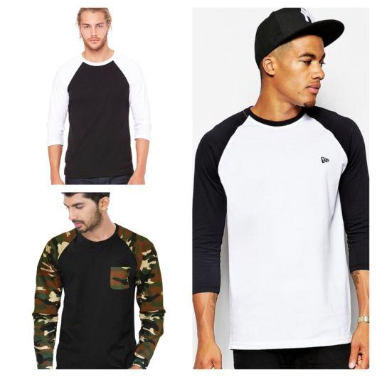 Cores sóbrias e estampas compõem a camiseta Raglan, uma peça extremamente versátil