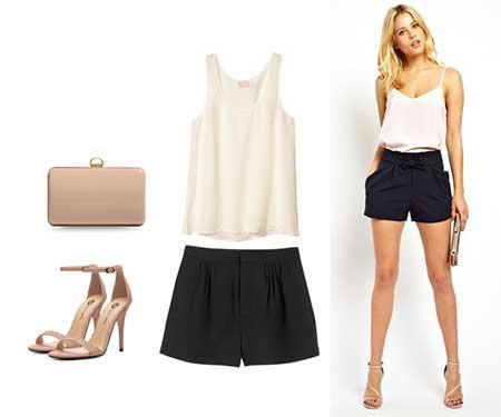 modelo usa blusa branca e short preto com sandalia nude.