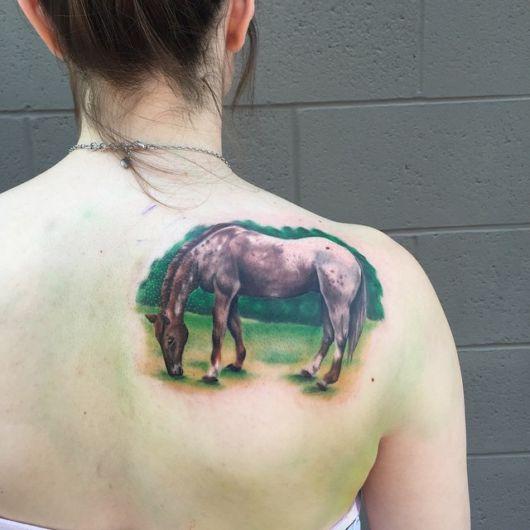 Cavalo no pasto, lindo efeito ao fundo