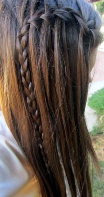 Trança cascata: lateral em cabelo castanho
