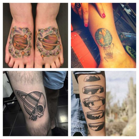 As tatuagens podem ser feitas em qualquer região do corpo, dos braços ao pé