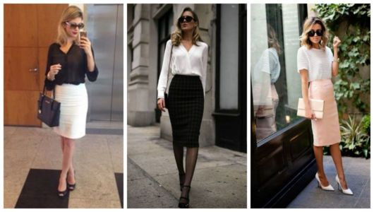 Montagem com três sugestões sobre como se vestir para uma entrevista de emprego.