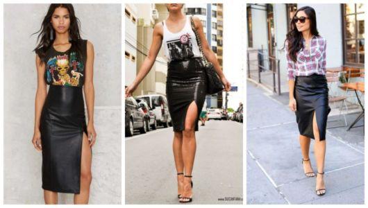 Montagem com exemplos de três looks com saia lápis com fenda preta.