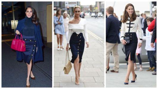 Montagem com três fotos de mulheres usando saia lápis com fenda.