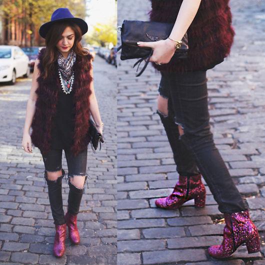 bota com glitter cano curto rosa