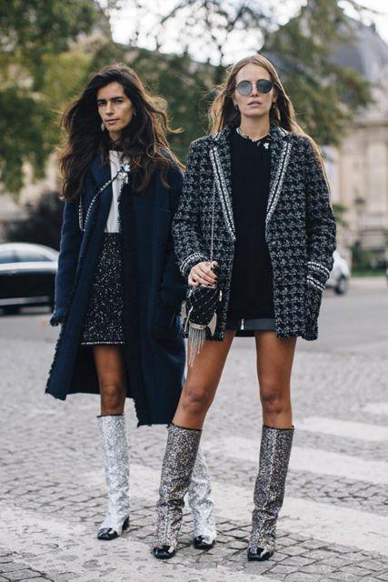 bota com glitter com casaco e bota cano longo