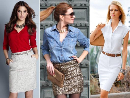 modelos usam saia branca com camisa social vermelha.