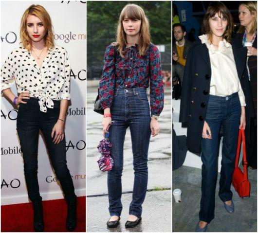 modelos usam camisa social feminina e calças jeans.
