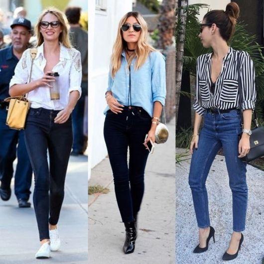 modelo usa calça e camisa social feminina.