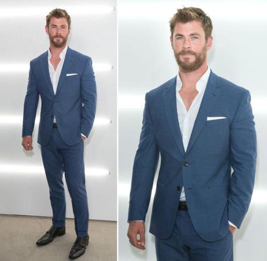 Ótima combinação do terno azul com lenço e camisa branco
