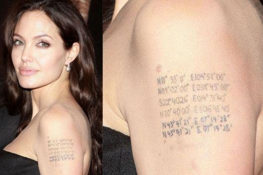 Angelina Jolie homenageou os filhos com essa tattoo no braço