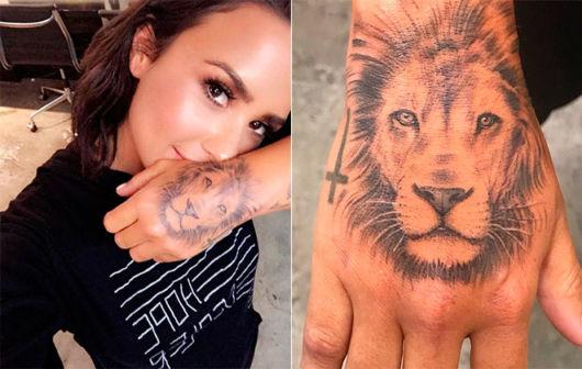 Demi Lovato fez um leão na mão