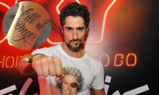 """Marcos Mion tatuou em inglês: """"o que não mata me faz mais forte"""""""