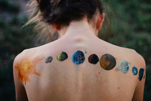 Um padrão horizontal com todos os planetas, bem bacana para quem ama tatuagem de planetas