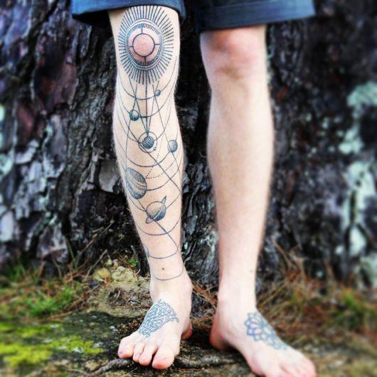 Tatuagem de planetas na perna masculina