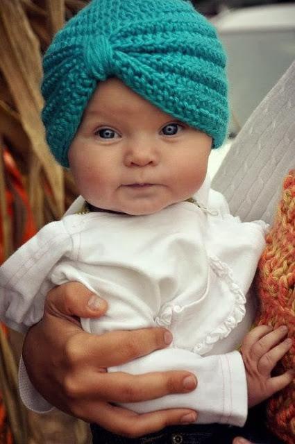 modelos de turbante de crochê para bebês