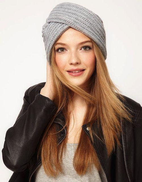 turbante de crochê cinza para mulheres