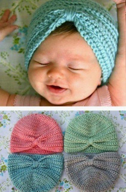 turbante de crochê para bebê azul