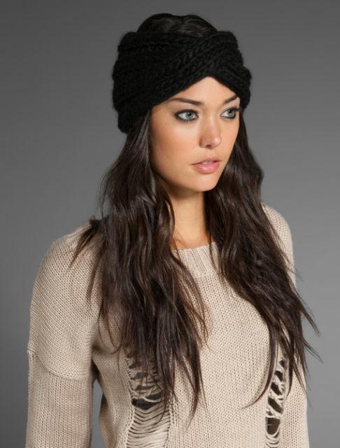 turbante de crochê preto simples