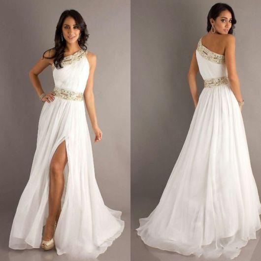 vestido grego de noiva com brilho