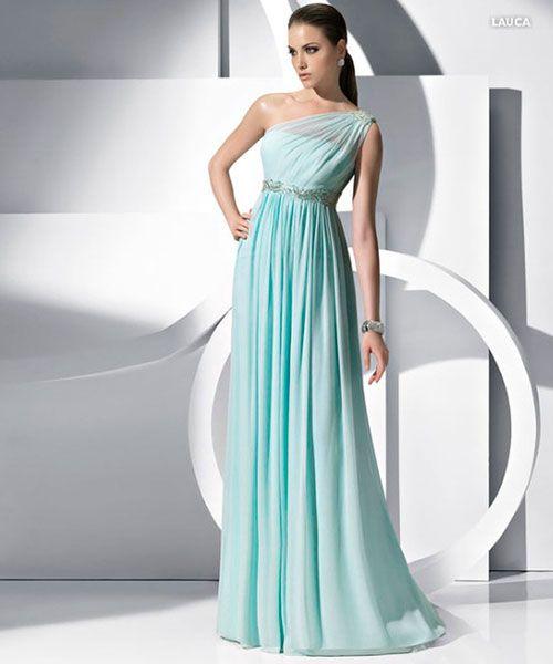 vestido grego drapeado verde água