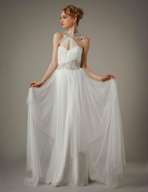 vestido grego de noiva com tule