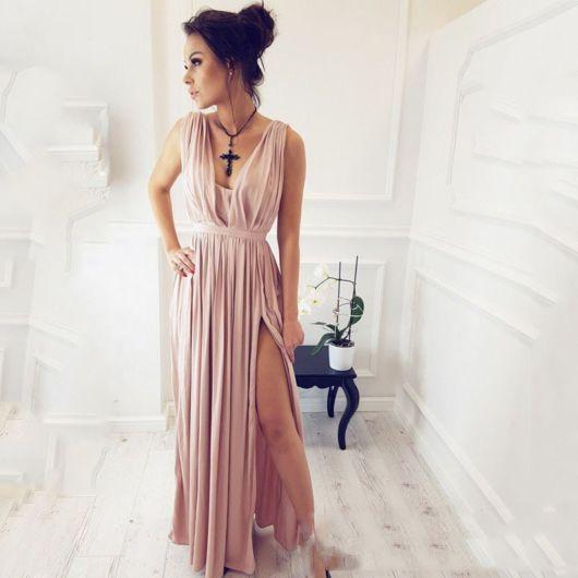 vestido grego longo rosa