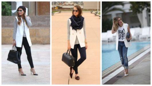 Montagem com fotos de três mulheres usando combinando calça e colete branco.