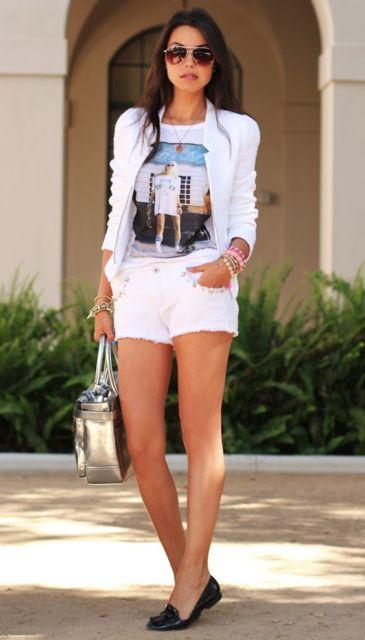 look com short jeans branco