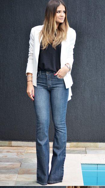 look com calça flare jeans