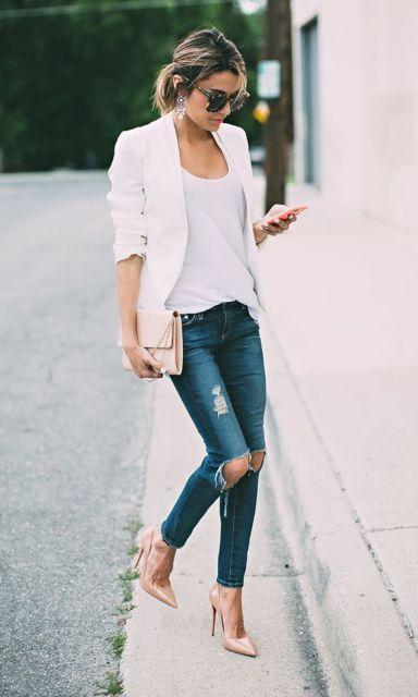 calça jeans com scarpin