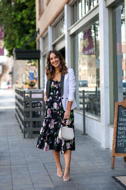 look com vestido midi floral